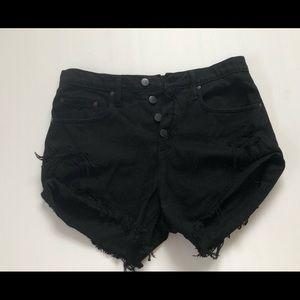 Nobody black denim boho distressed shorts Sz 26 Long rise relaxed rolled hem.